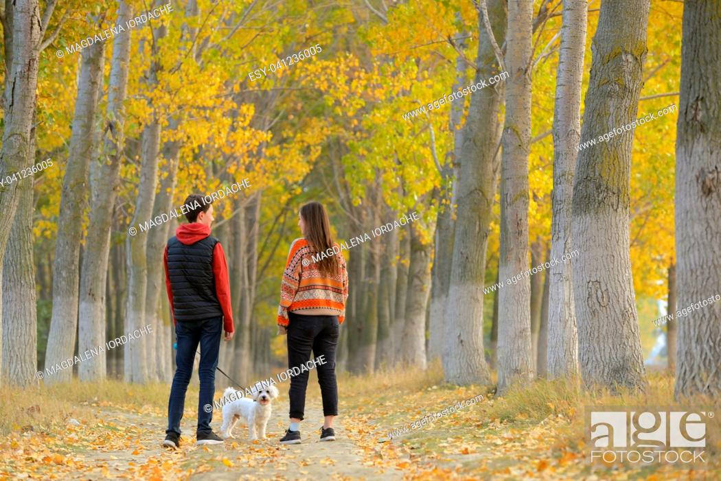Stock Photo: Young boy and girl with maltese dog in autumn forest.