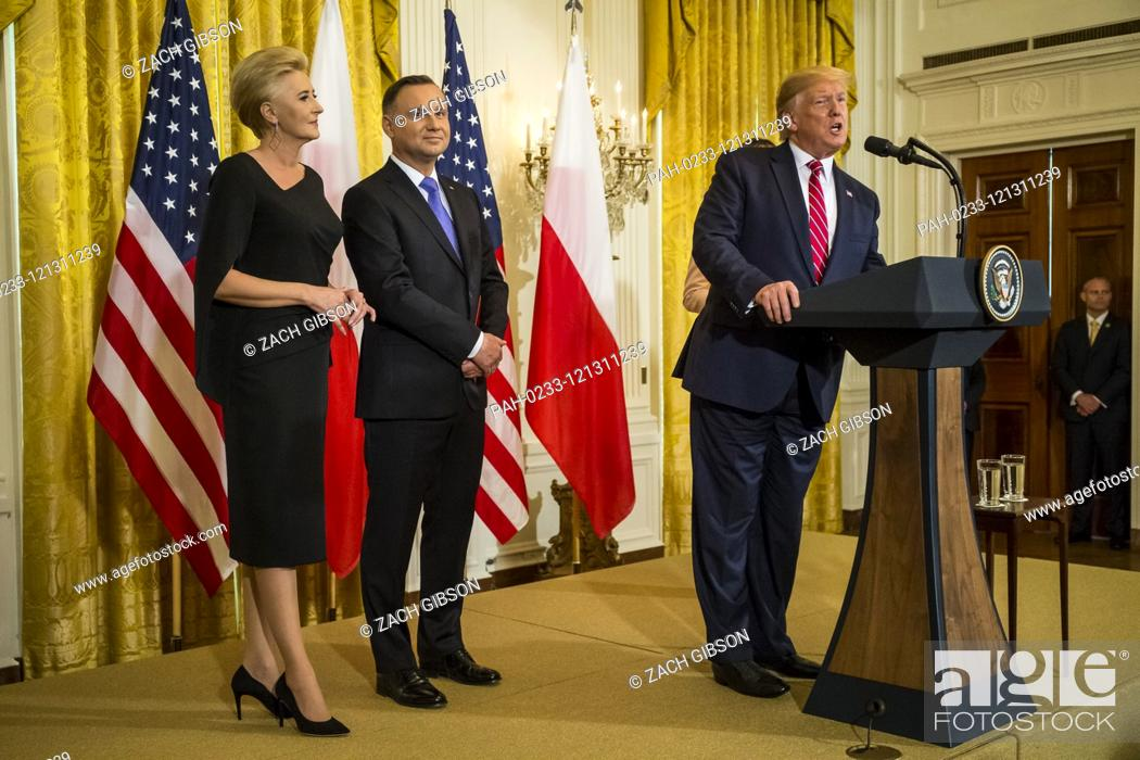 Stock Photo: U.S. President Donald Trump speaks during a Polish-American reception White House in Washington, DC, USA, 12 June 2019. Also pictured are Polish First Lady.