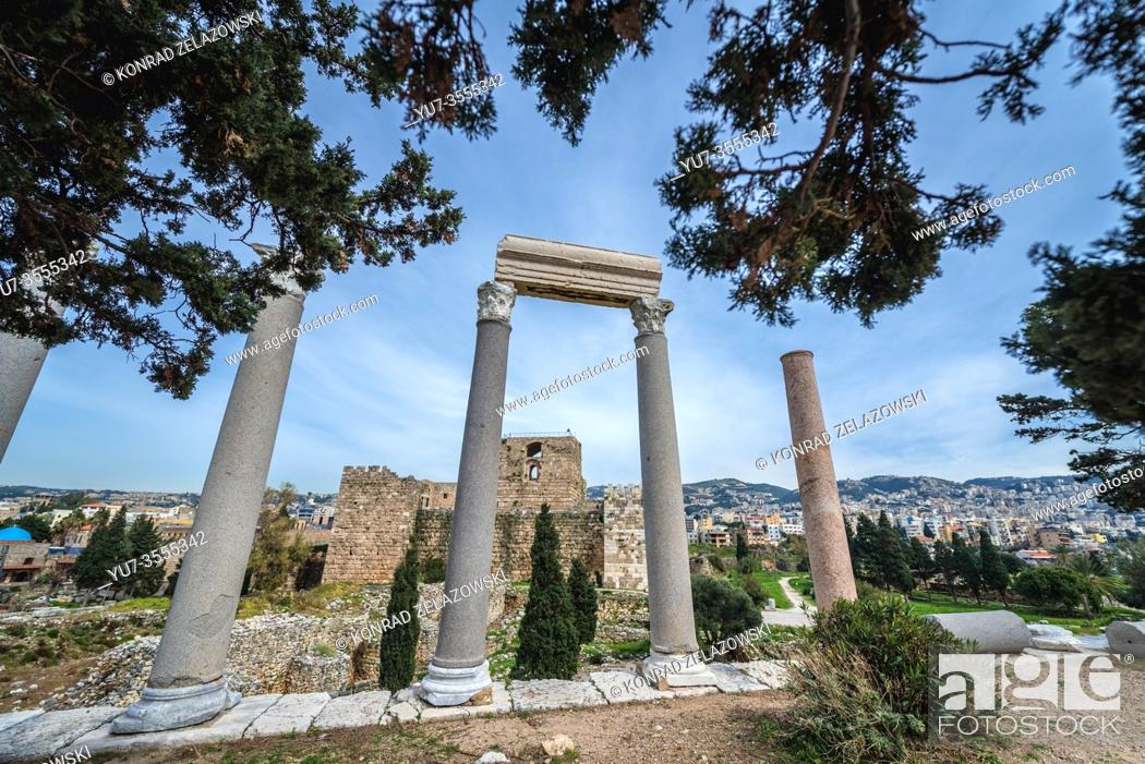 Stock Photo: Remains of Roman colonnaded street and crusader castle in Byblos, largest city in the Mount Lebanon Governorate of Lebanon.