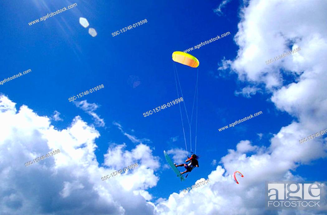 Stock Photo: Kitesurfing.