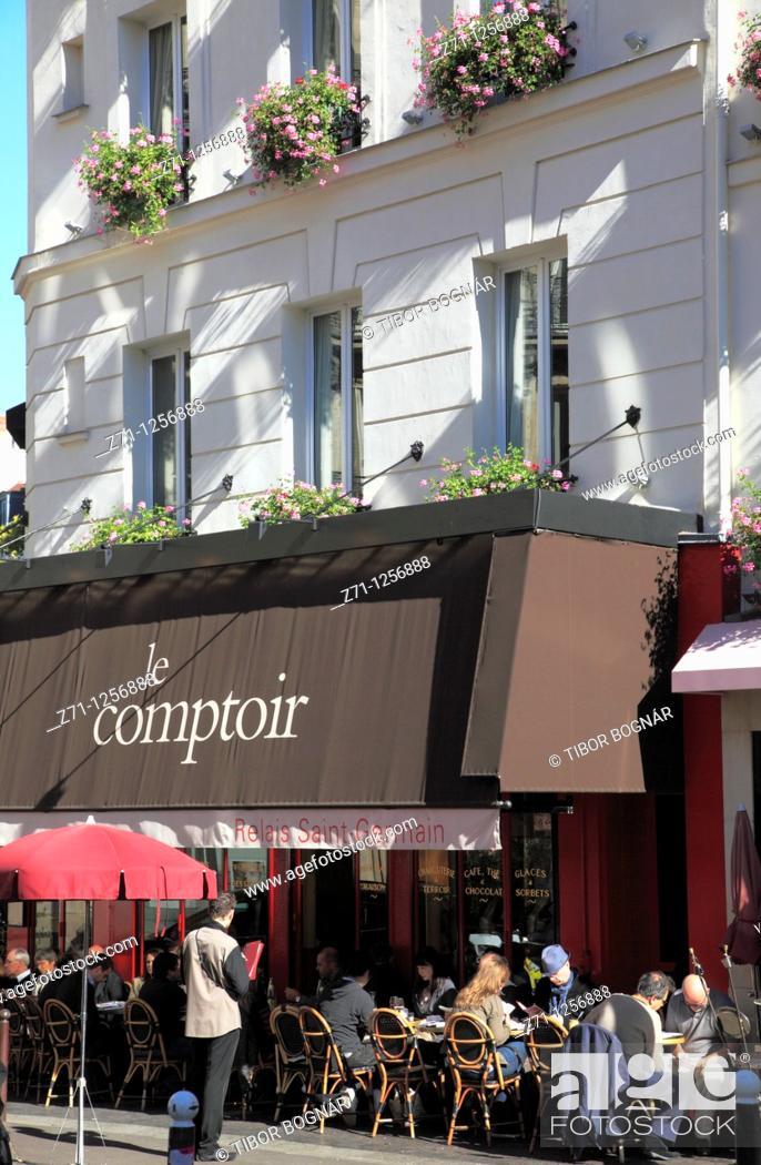 France Paris Carrefour De L Odeon Restaurant People Stock Photo