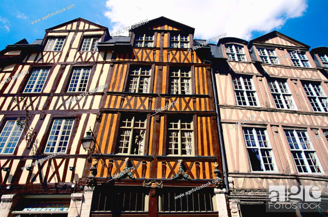 Stock Photo: Half timbered buildings in Rouen old town. Normandy. France.