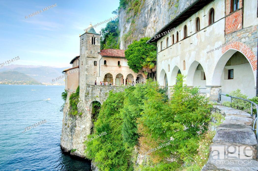Stock Photo: Eremo San Caterina del Sasso Lago Maggiore Italy.