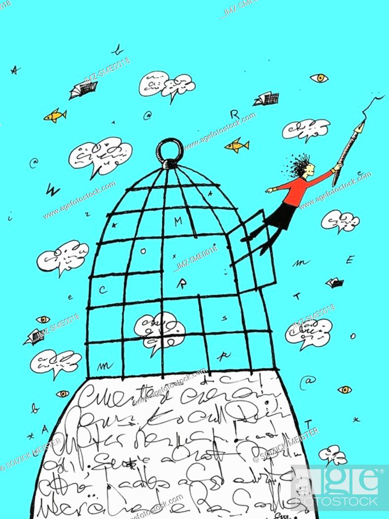 Stock Photo: Writer flying out of a cage.