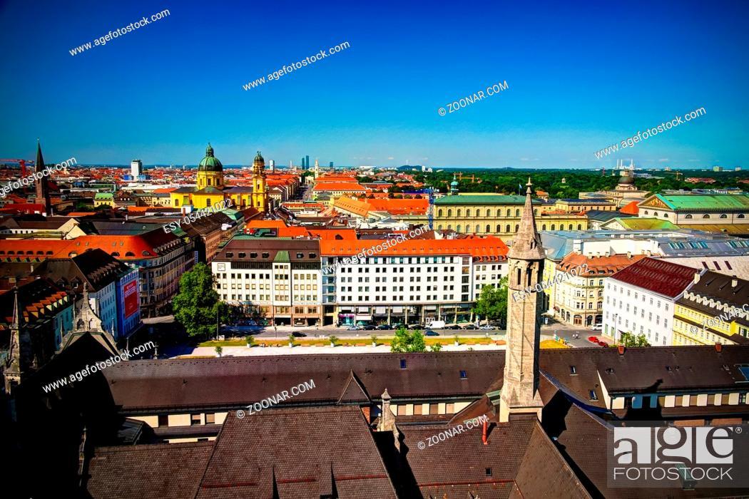 Stock Photo: Aerial panoramic view to Munich city and Marienhof Kurt- Eisner-Platz park from Rathaus-Glockenspiel - 21 July 2013 Munich, Bavaria, Germany.