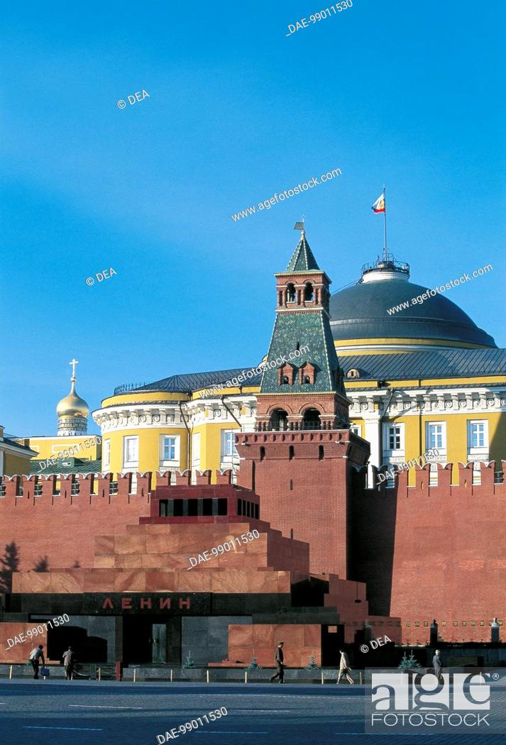 Stock Photo: Russia - Moscow. Red Square (UNESCO World Heritage List, 1990). Kremlin and Lenin Mausoleum, 1929.