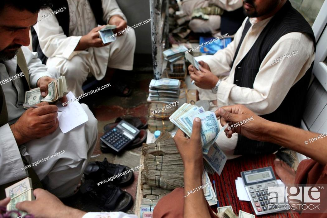 Stock Photo: exchange market in kabul.