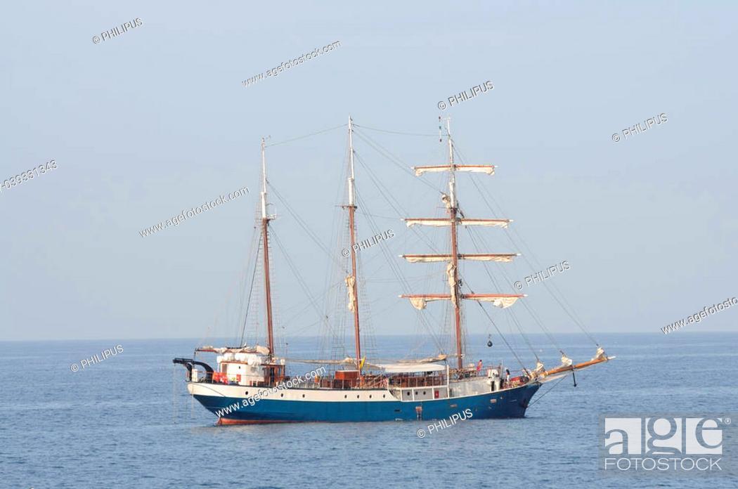 Stock Photo: Sail ship in the sea.
