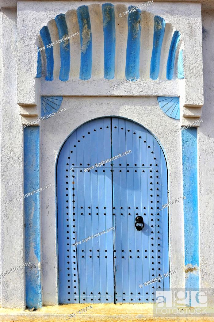 Stock Photo: Typical painted blue front door of a house, Medina, old town, Chefchaouen, Rif Mountains, Northern Morocco, Morocco, Africa.