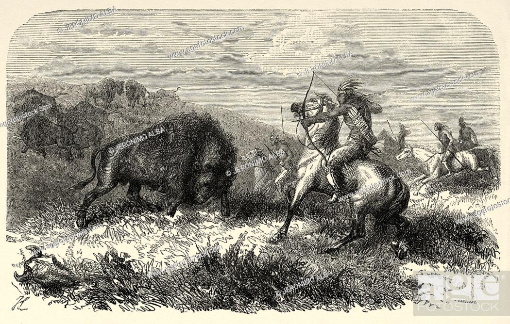 Stock Photo: Indian bison hunting, United States of America. Journey to the American far west by Simonin 1867. Old engraving El Mundo en la Mano 1878.