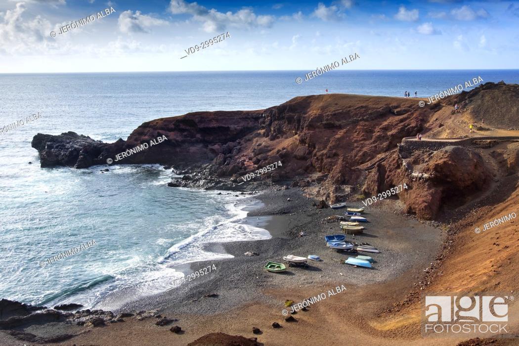 Stock Photo: Beach, El Golfo. Lanzarote Island. Canary Islands Spain. Europe.