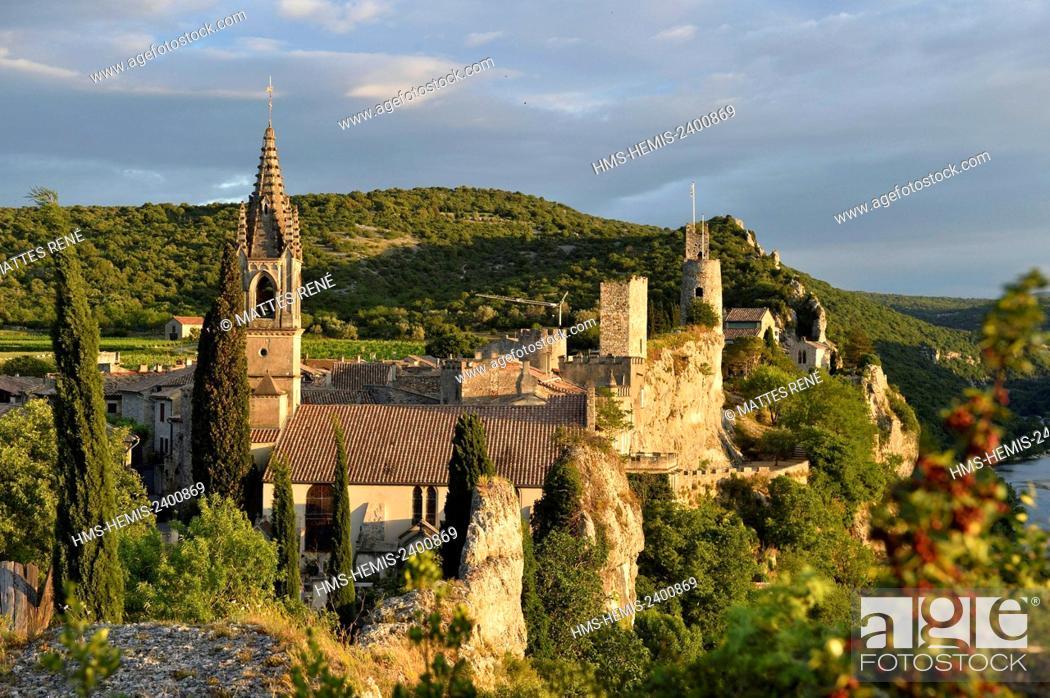 Stock Photo: France, Gard, Aigueze, labelled Les Plus Beaux Villages de France (The Most Beautiful Villages of France), Medieval village perched above the Ardeche river.