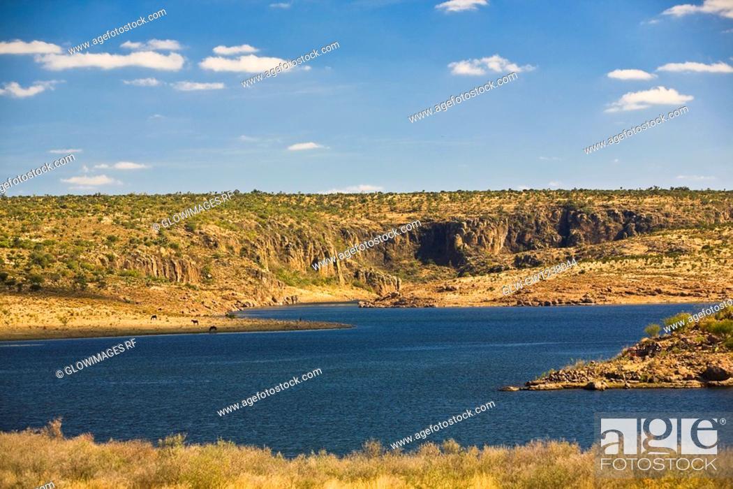Stock Photo: Panoramic view of a landscape, San Jose De Gracia, Aguascalientes, Mexico.