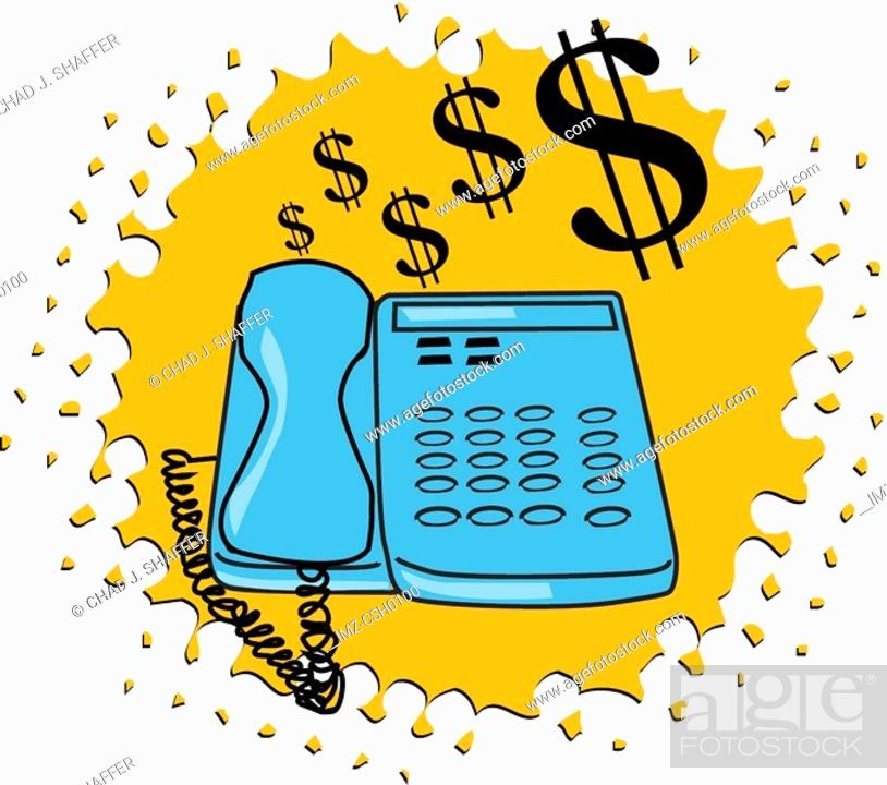 Stock Photo: Drawing of a phone with dollar signs.