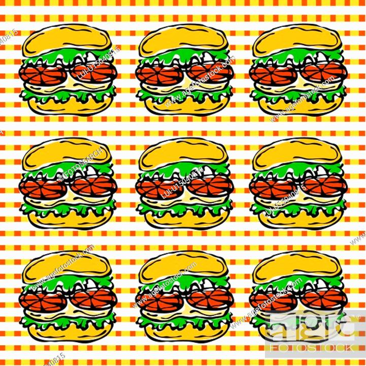 Stock Photo: design arts, wallpaper, indoors, background, hamburger, decorative art, pattern.