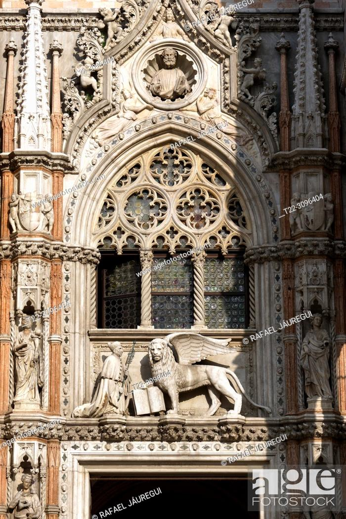 Stock Photo: Venice (Italy). Detail of the facade of the Doge's Palace in the city of Venice.