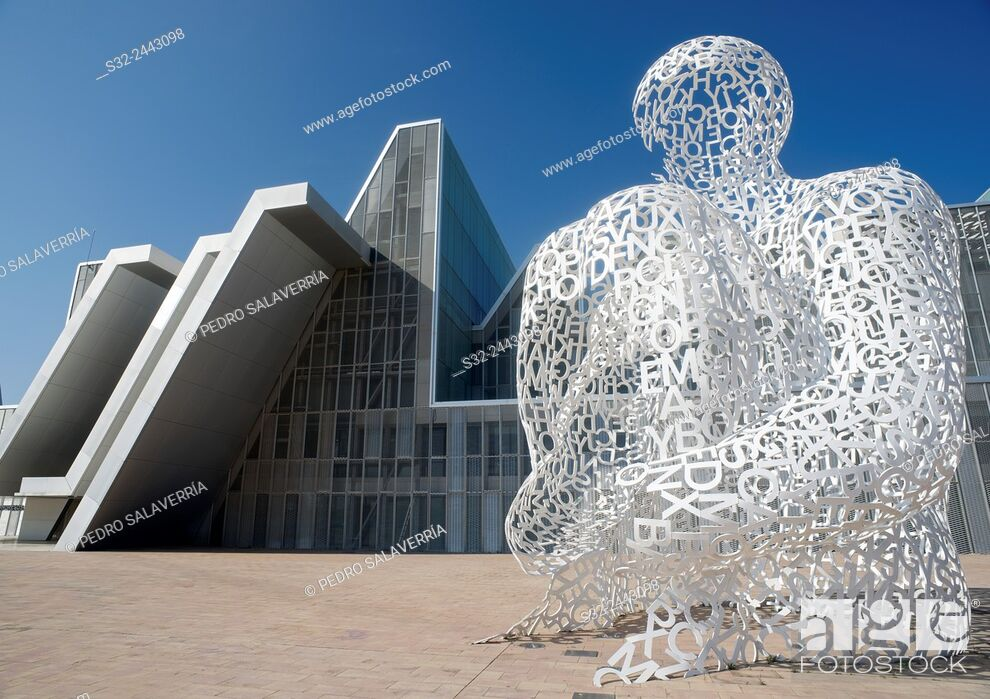 "Stock Photo: Sculpture known as """"Ebro Soul """", sculptor Jaume Piensa, and Congress Hall, in what was the EXPO 2008, Zaragoza, Aragon, Spain."