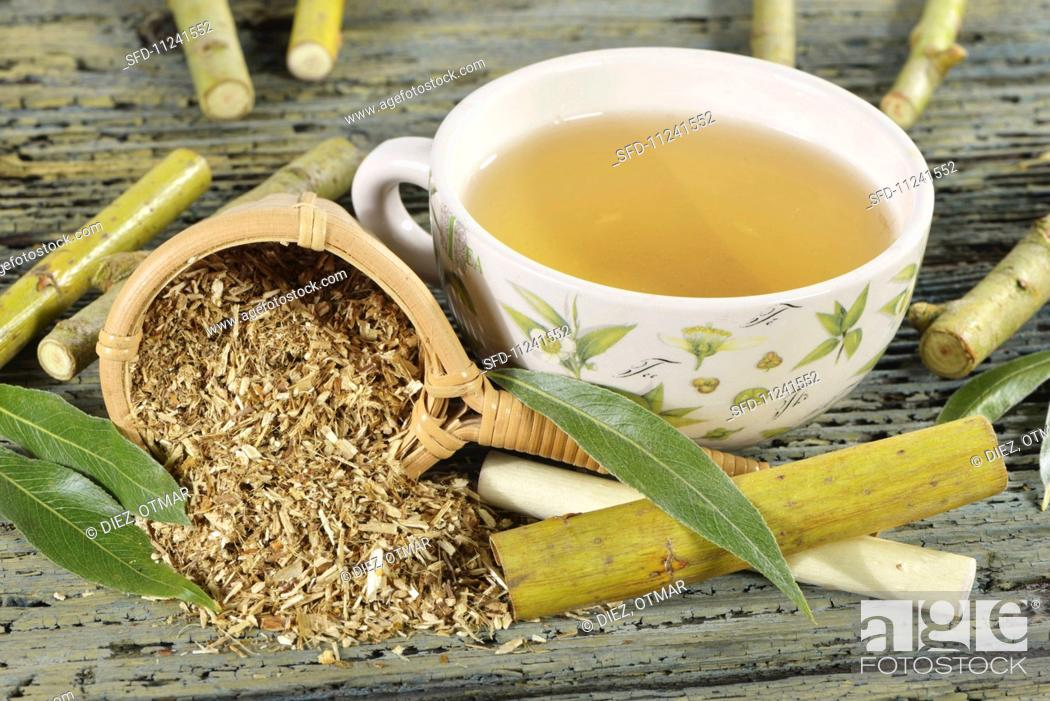 Stock Photo: White willow tea with ingredients (twigs, bark, leaves).