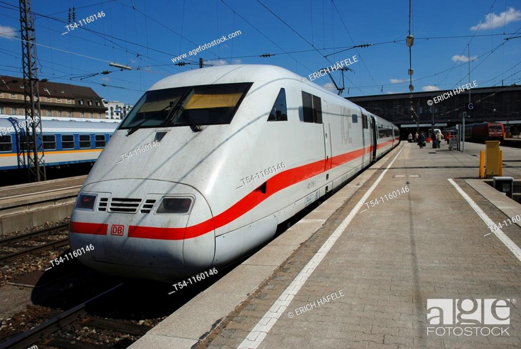Stock Photo: ICE Train at Munich Central Station.