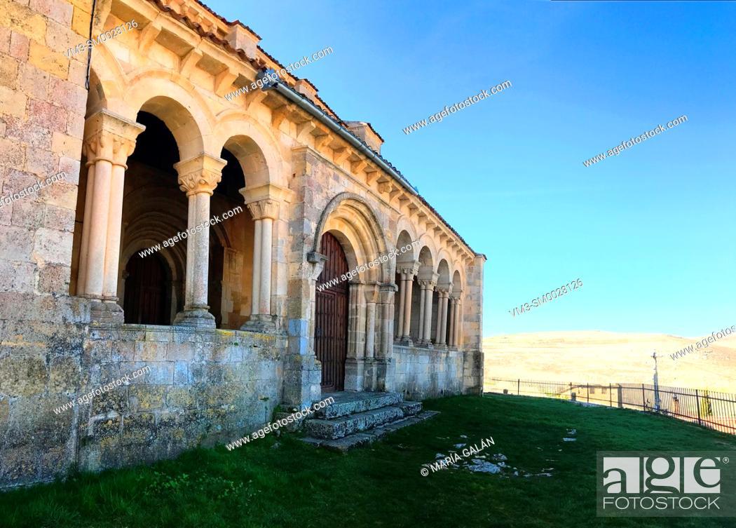 Stock Photo: Atrium of San Miguel church, panoramic view. Fuentidueña, Segovia province, Castilla Leon, Spain.