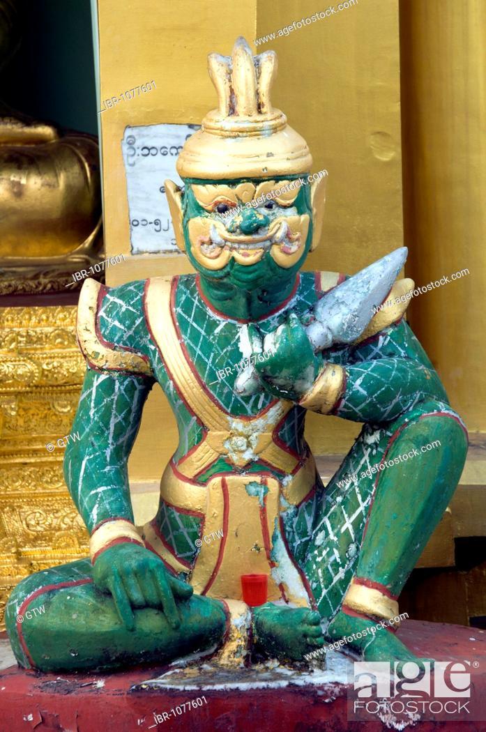 Stock Photo: Statue, Shwedagon Pagoda, Yangon, Myanmar, Burma, Southeast Asia.
