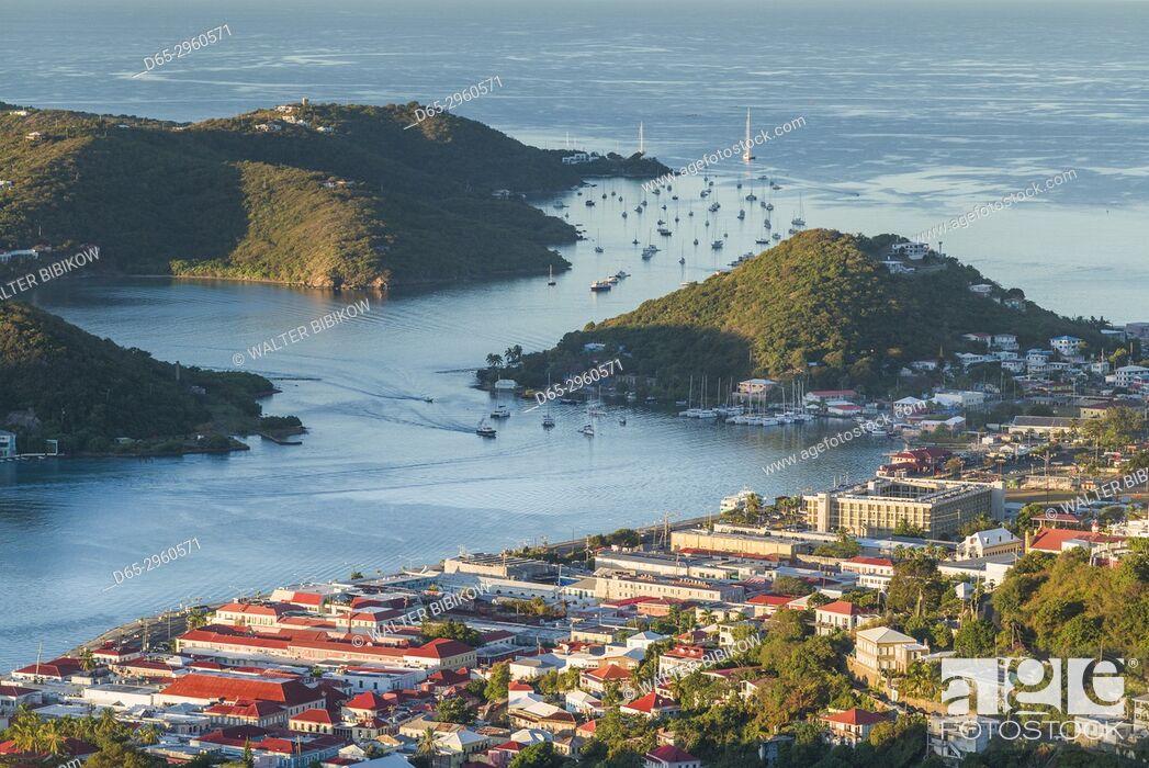 Stock Photo: U. S. Virgin Islands, St. Thomas, Charlotte Amalie, elevated town view, dawn.
