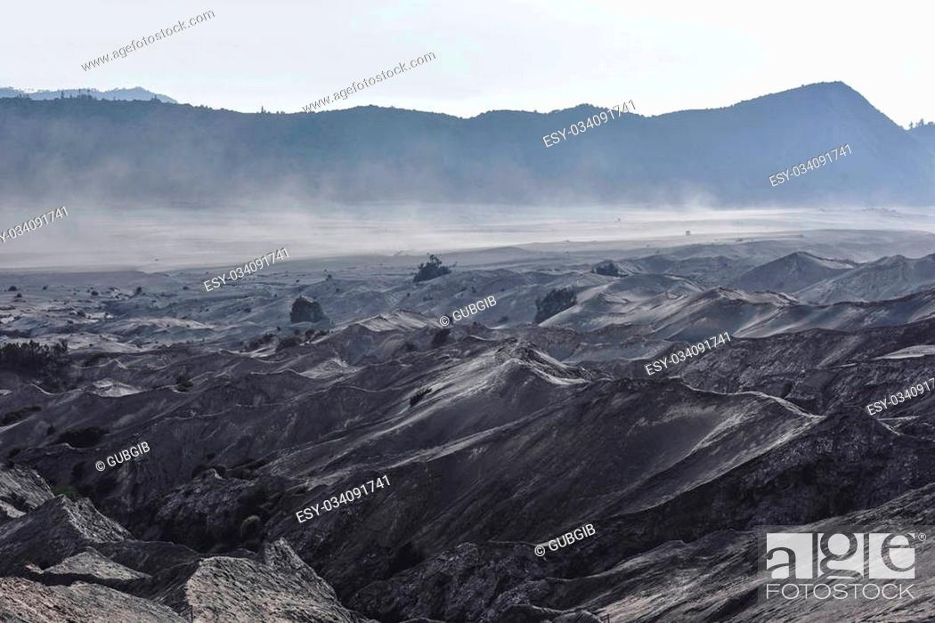 Stock Photo: Layer Volcanic ash as sand ground of Mount Bromo volcano the magnificent view of Mt. Bromo located in Bromo Tengger Semeru National Park, East Java, Indonesia.