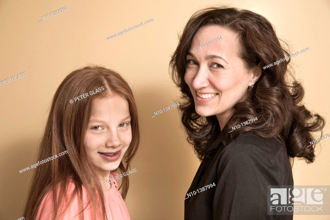 Stock Photo: Preteen girl and her mother.