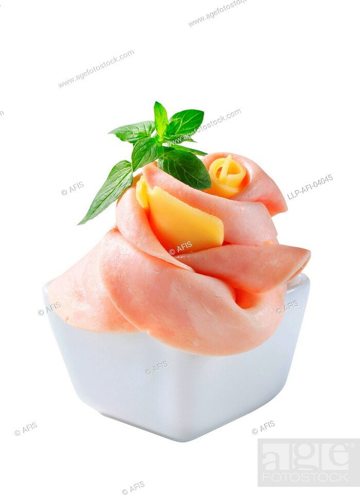Stock Photo: Ham and cheese appetizer.