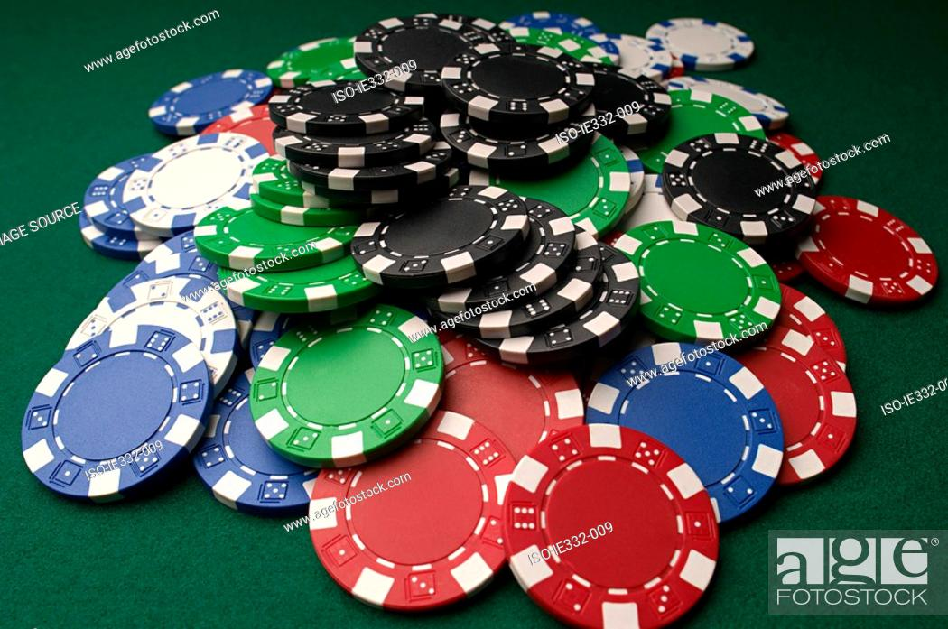Stock Photo: Pile of gambling chips.