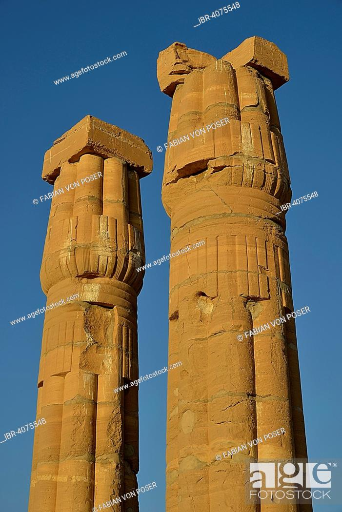 Stock Photo: Columns, Temple of Amun, Soleb, Northern state, Nubia, Sudan.