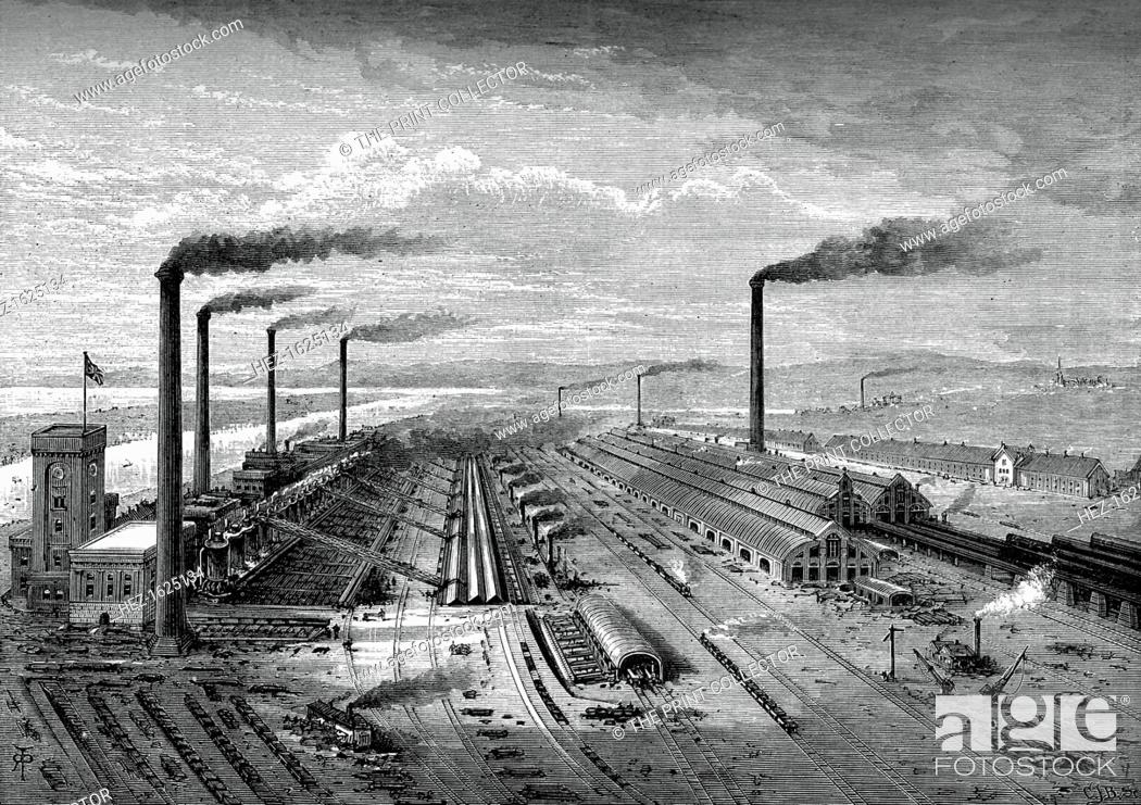 Stock Photo: The iron and steel works at Barrow, c1880. A print from Great Industries of Great Britain, Volume I, published by Cassell Petter and Galpin, (London, Paris.