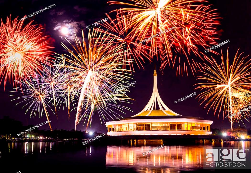 Stock Photo: fireworks on rama nine park, thailand.