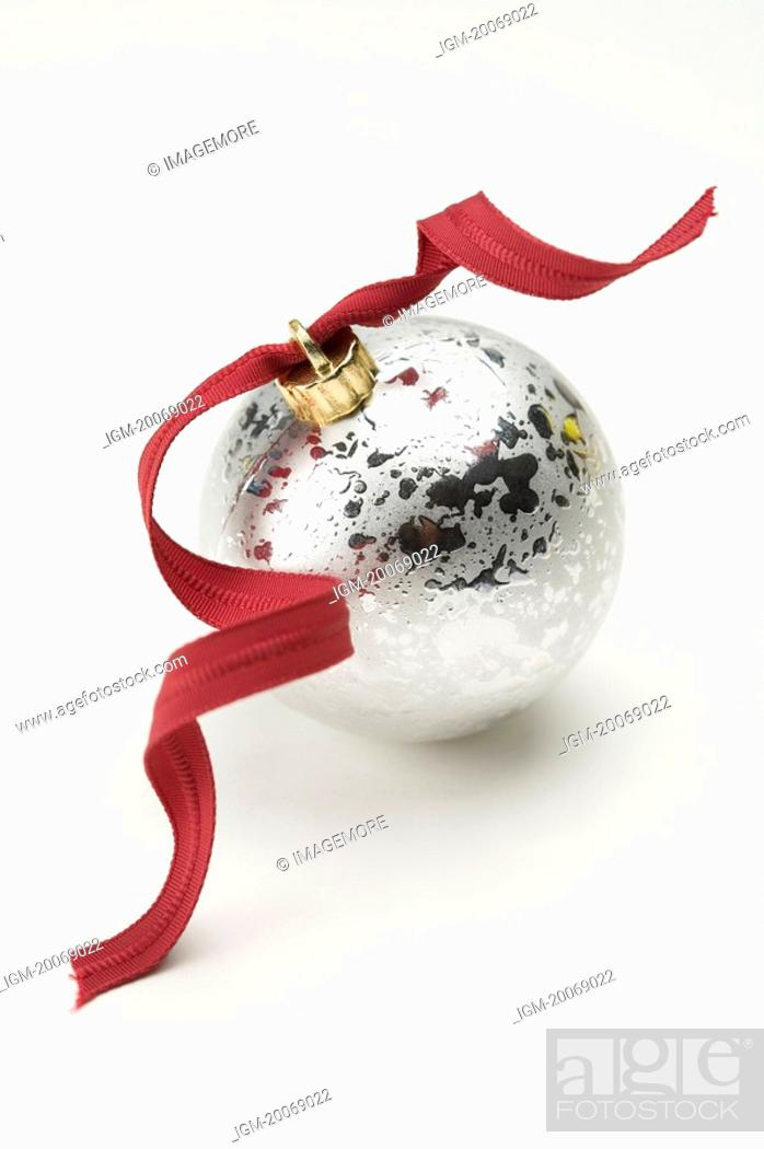 Stock Photo: Ribbon on a Christmas bauble.