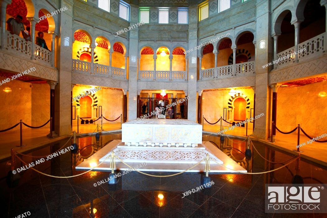 Stock Photo: Africa, Tunisia, Monastir, Interior of the Mausoleum of Habib Bourguiba, Habib Bourguiba's Sarcophagus.