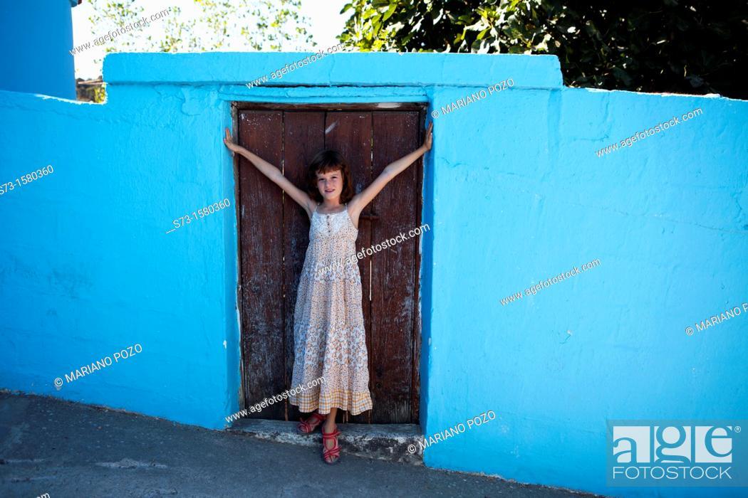 Stock Photo: Girl in Juzcar, in the Serrania of Ronda. Málaga province.