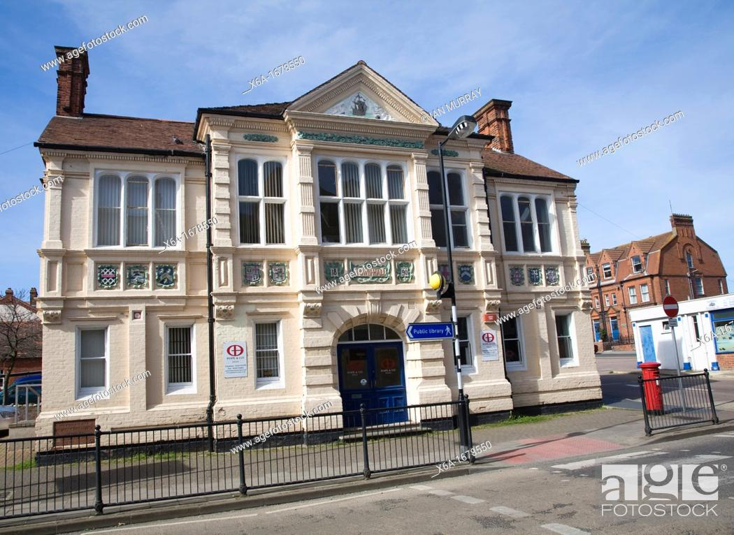 Stock Photo: The original Victorian town hall building at Cromer, Norfolk, England built in 1890 in Queen Anne style.