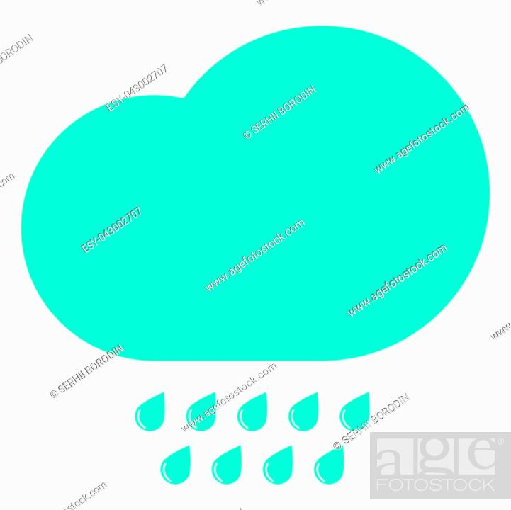 Vecteur de stock: Clouds with the drops blue icon black color vector illustration isolated.