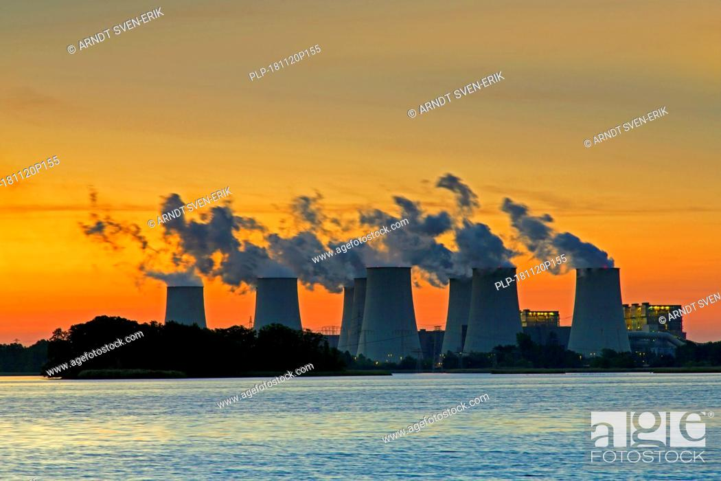 Stock Photo: Jänschwalde / Jaenschwalde lignite-fired power station at sunset, third-largest brown coal power plant in Germany at Brandenburg, Spree-Neiße.