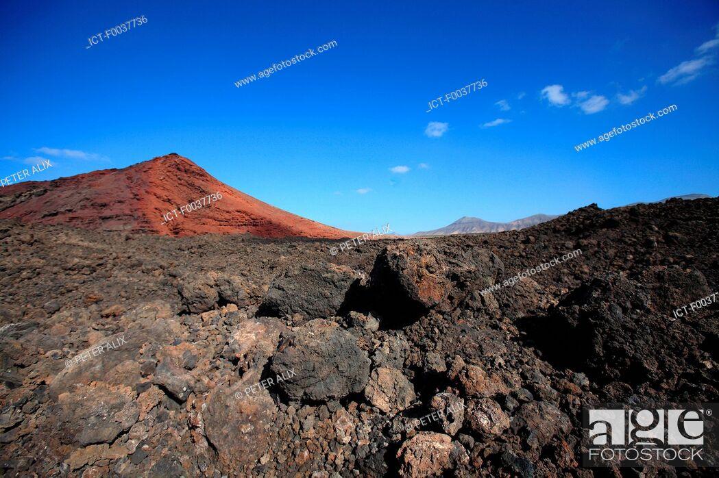 Stock Photo: Spain, Canary islands, Lanzarote, National park of Timanfaya, Bermeja mountain.