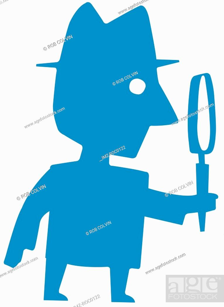 Stock Photo: Man holding large magnifying glass.