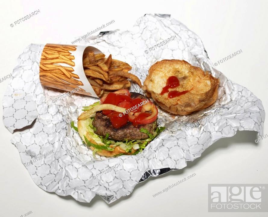 Stock Photo: Hamburger and French Fries.