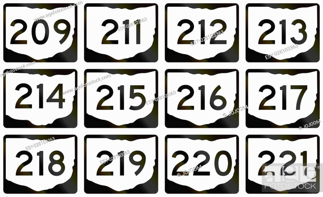 Stock Photo: Collection of Ohio Route shields used in the United States.