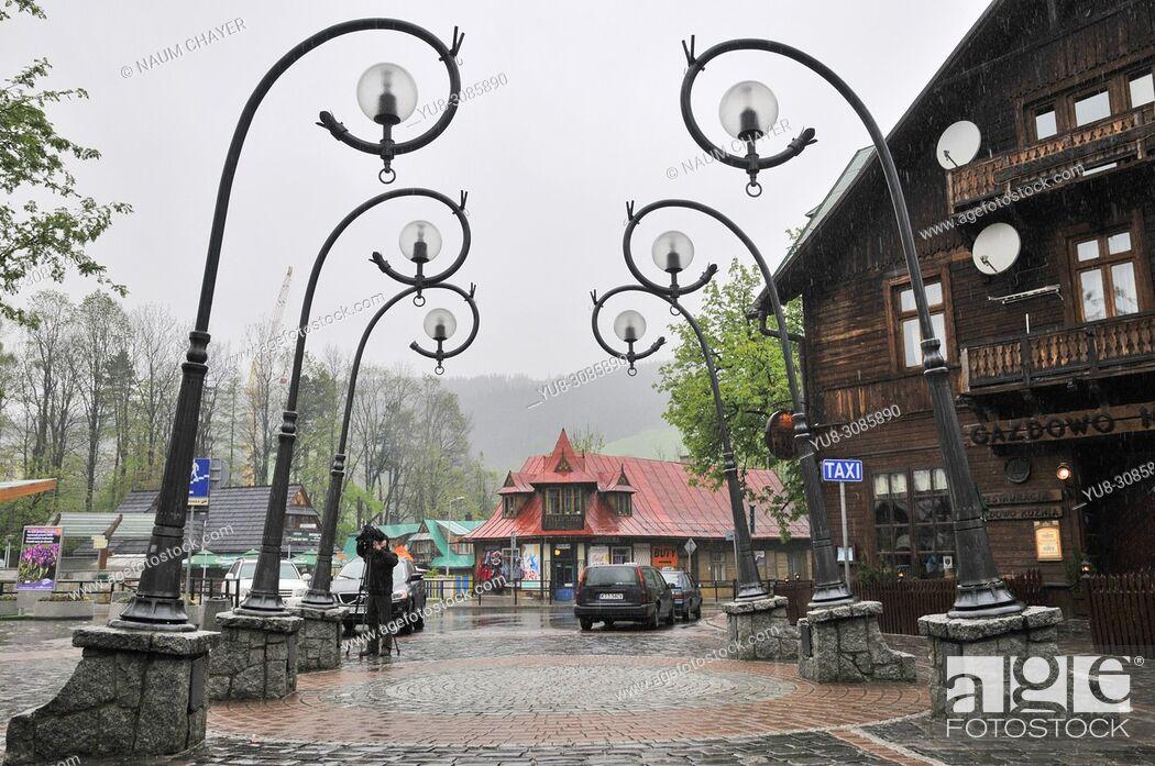 Stock Photo: Krupowki imost representative street of Zakopane, Zakopane, Poland, East Europe.