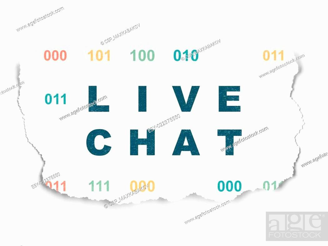 Imagen: Web development concept: Live Chat on Torn Paper background.