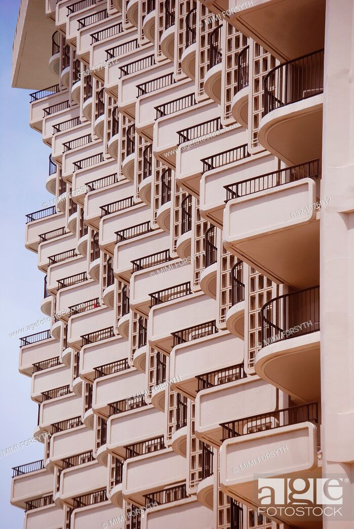 Stock Photo: balconies, hotel, Honolulu, Hawai'i.