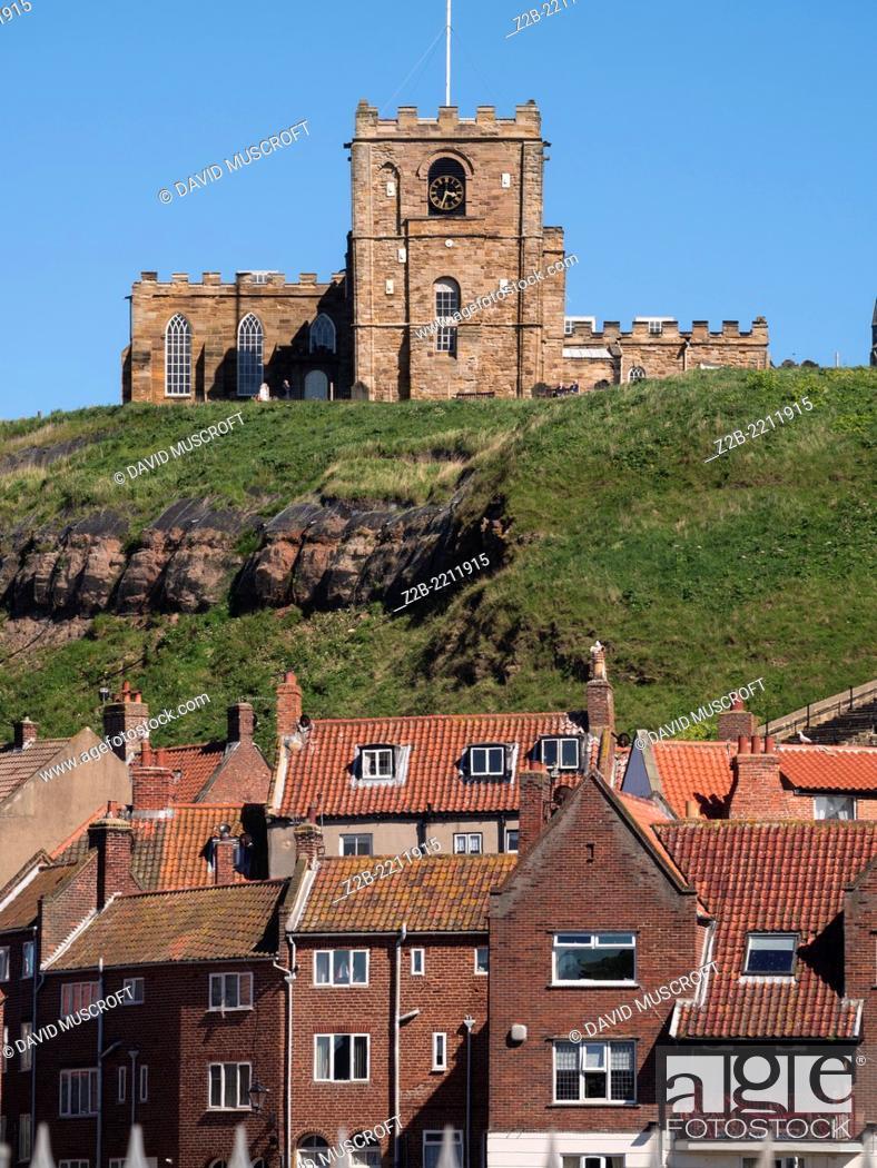 Stock Photo: Whitby Abbey, North Yorkshire Coast, UK.