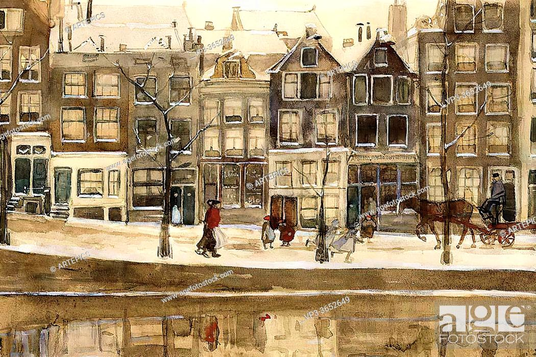 Stock Photo: Breitner George Hendrik - a View of the Lauriergracht Amsterdam in Winter - Dutch School - 19th Century.