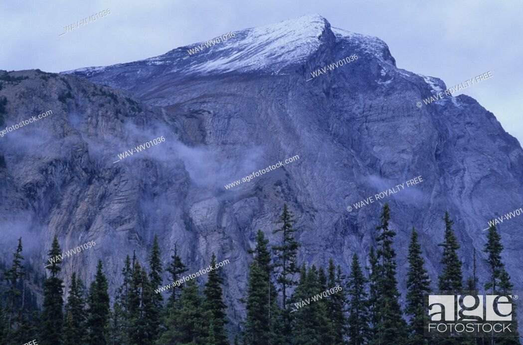 Stock Photo: Mountain ridge with cloud cover and snow patched, Athabasca Pass, Jasper National Park.