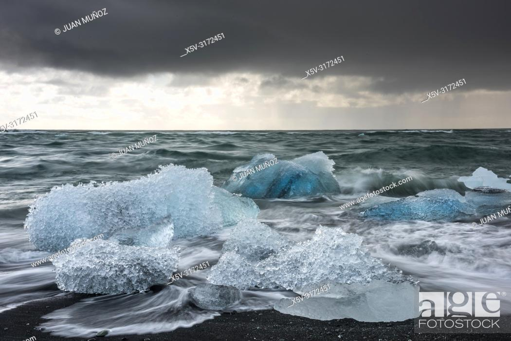 Stock Photo: Diamond Beach.Jokulsarlon. Southern Region. Iceland.